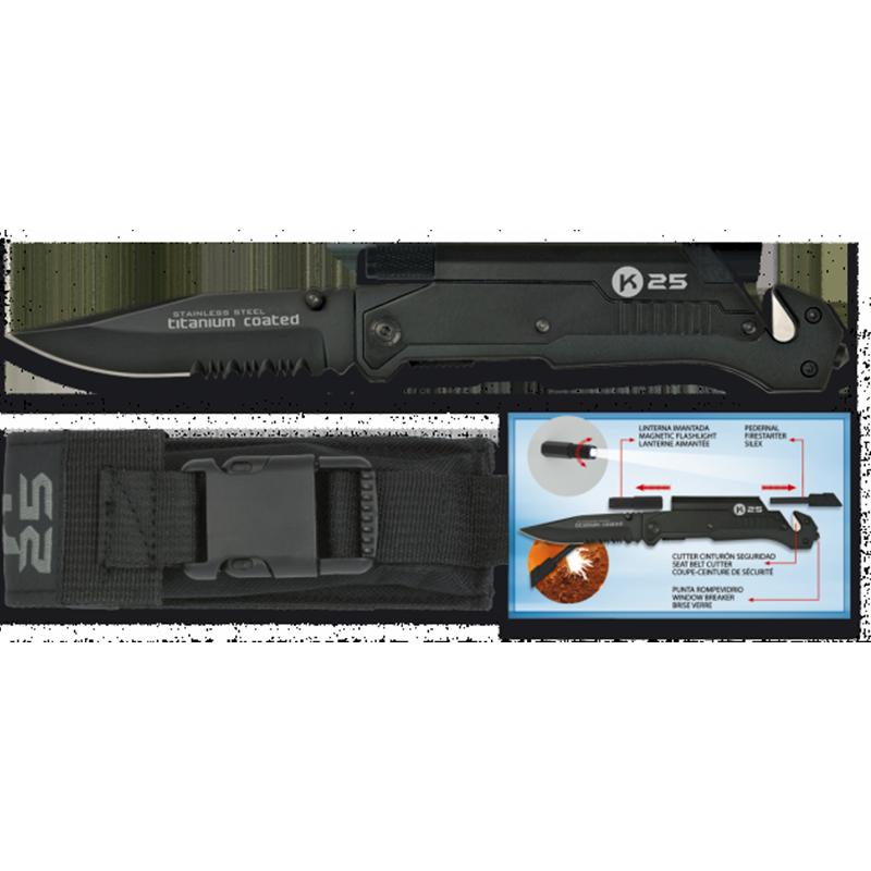Imagen de Navaja táctica K25 con pedernal y linterna por Estrella Militar