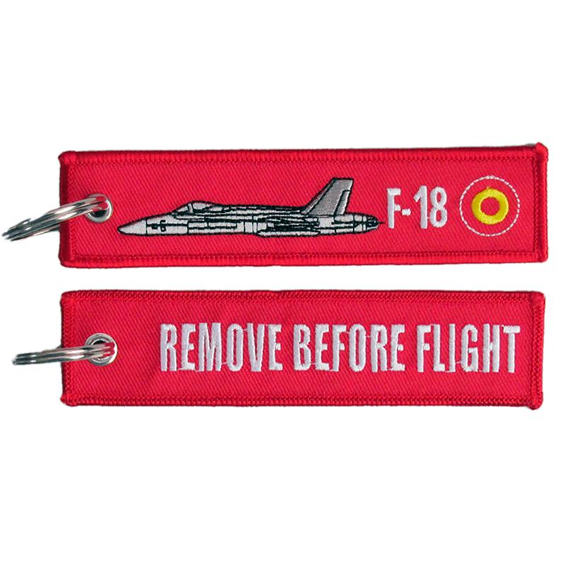 Imagen de Llavero Bordado F-18 Remove Before Flight Rojo por Estrella Militar