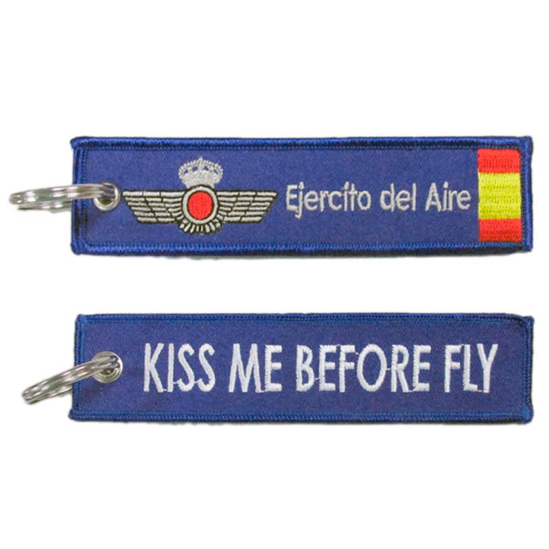 Imagen de Llavero Bordado Kiss Me Before Fly Azul por Estrella Militar