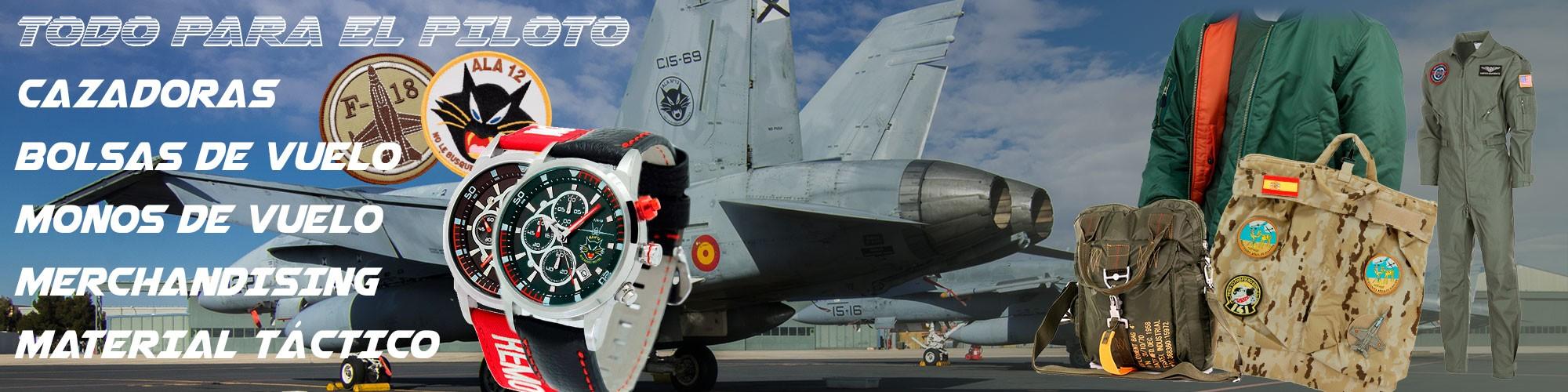 piloto avión - cazadora piloto - bolsas de vuelo - monos de vuelo - material táctico - estrella militar